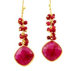 21.53cts natural red ruby 925 sterling silver 14k gold dangle earrings r32771