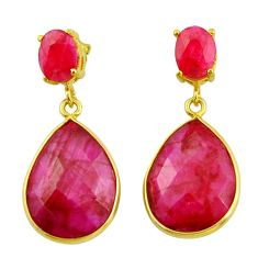22.05cts natural red ruby 925 sterling silver 14k gold dangle earrings r32809