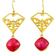 15.93cts natural red ruby 925 sterling silver 14k gold dangle earrings r32846