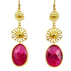 15.65cts natural red ruby 925 sterling silver 14k gold dangle earrings r38726