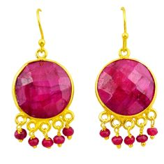21.34cts natural red ruby 925 sterling silver 14k gold dangle earrings r38727