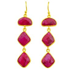 18.57cts natural red ruby 14k gold handmade dangle earrings t11542