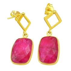 13.10cts natural red ruby 14k gold handmade dangle earrings jewelry t11591