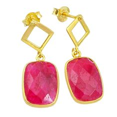 12.22cts natural red ruby 14k gold handmade dangle earrings jewelry t11592