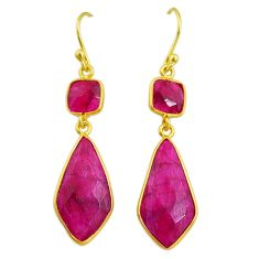 15.34cts natural red ruby 14k gold handmade dangle earrings t11641