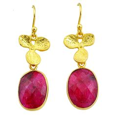 11.23cts natural red ruby 14k gold handmade dangle earrings t11686