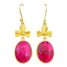 16.88cts natural red ruby handmade 14k gold dangle earrings t16417