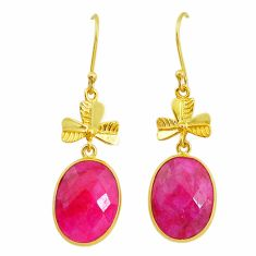 17.53cts natural red ruby handmade 14k gold dangle earrings t16455