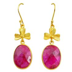 16.88cts natural red ruby handmade 14k gold dangle earrings t16457