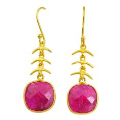 11.28cts natural red ruby handmade 14k gold dangle earrings t16458
