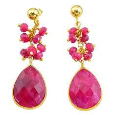 18.79cts natural red ruby handmade 14k gold dangle earrings t16585