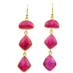 16.88cts natural red ruby 925 sterling silver 14k gold dangle earrings t44149