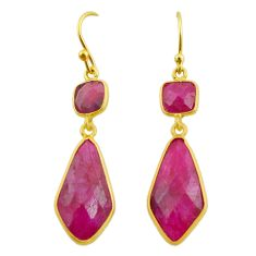 13.69cts natural red ruby 925 sterling silver 14k gold dangle earrings t44201