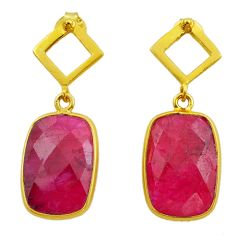 12.22cts natural red ruby 925 sterling silver 14k gold dangle earrings t44212