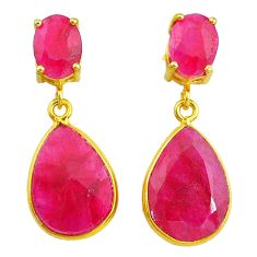 13.60cts natural red ruby handmade 14k gold dangle earrings jewelry t16371