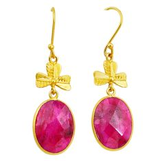 17.44cts natural red ruby handmade 14k gold dangle earrings jewelry t16396