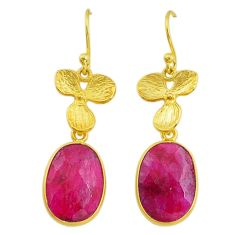 12.43cts natural red ruby handmade 14k gold dangle earrings jewelry t16431