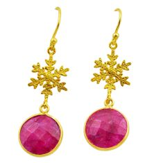 10.08cts natural red ruby 925 sterling silver 14k gold snowflake earrings t44194