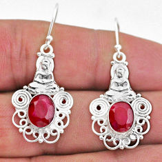 6.04cts natural red ruby 925 sterling silver buddha charm earrings t47010