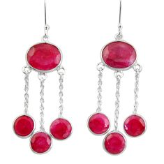 18.17cts natural red ruby 925 sterling silver chandelier earrings jewelry d39842