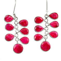 Clearance Sale- 14.81cts natural red ruby 925 sterling silver chandelier earrings jewelry d39843