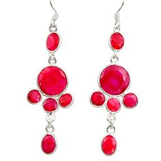 18.14cts natural red ruby 925 sterling silver chandelier earrings jewelry d39893