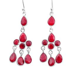 13.15cts natural red ruby 925 sterling silver chandelier earrings jewelry t4662
