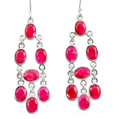 18.73cts natural red ruby 925 sterling silver dangle earrings jewelry d39907