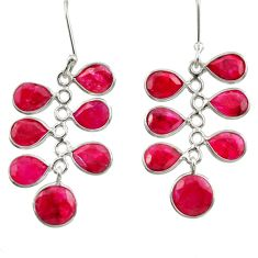 14.73cts natural red ruby 925 sterling silver dangle earrings jewelry d39909