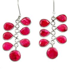 Clearance Sale- 15.34cts natural red ruby 925 sterling silver dangle earrings jewelry d39910