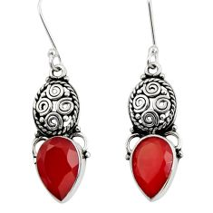 Clearance Sale- 8.94cts natural red ruby 925 sterling silver dangle earrings jewelry d40485