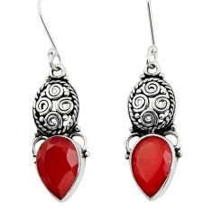 8.31cts natural red ruby 925 sterling silver dangle earrings jewelry d40487