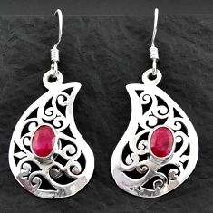 3.31cts natural red ruby 925 sterling silver dangle earrings jewelry d40602