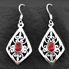 3.30cts natural red ruby 925 sterling silver dangle earrings jewelry d40608