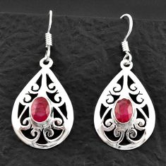 3.28cts natural red ruby 925 sterling silver dangle earrings jewelry d40612