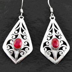 3.19cts natural red ruby 925 sterling silver dangle earrings jewelry d40619