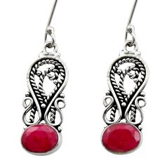 4.40cts natural red ruby 925 sterling silver dangle earrings jewelry d40705