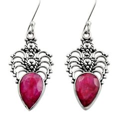 8.41cts natural red ruby 925 sterling silver dangle earrings jewelry d40710
