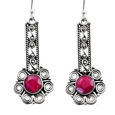 Clearance Sale- 6.03cts natural red ruby 925 sterling silver dangle earrings jewelry d40713