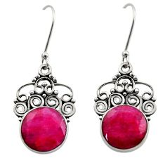 Clearance Sale- 10.21cts natural red ruby 925 sterling silver dangle earrings jewelry d40716