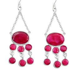19.99cts natural red ruby 925 sterling silver dangle earrings jewelry d45752