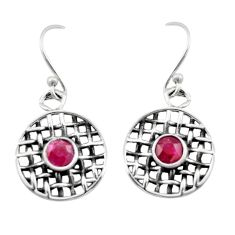 1.85cts natural red ruby 925 sterling silver dangle earrings jewelry d46905