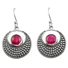 5.01cts natural red ruby 925 sterling silver dangle earrings jewelry d46932