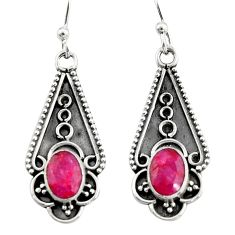 3.83cts natural red ruby 925 sterling silver dangle earrings jewelry r19874