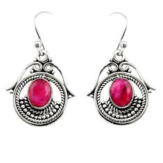 4.40cts natural red ruby 925 sterling silver dangle earrings jewelry r19875