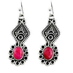 3.62cts natural red ruby 925 sterling silver dangle earrings jewelry r19876