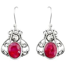 4.06cts natural red ruby 925 sterling silver dangle earrings jewelry r19883