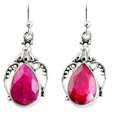8.55cts natural red ruby 925 sterling silver dangle earrings jewelry r19910