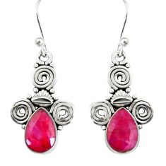 4.48cts natural red ruby 925 sterling silver dangle earrings jewelry r19912