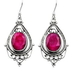 8.31cts natural red ruby 925 sterling silver dangle earrings jewelry r30831